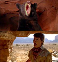 Marty and the Bear in Back to the Future 3, I love his screaming voice. and his screaming face. I just love HIM.