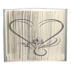 Flower Heart cut and fold book folding pattern.