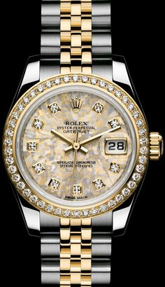 1d44b016a6c10 ROLEX LADY-DATEJUST  GOLD CRYSTALS DIAL - ROLEX Timeless Luxury Watches  Ladies Luxury Watches