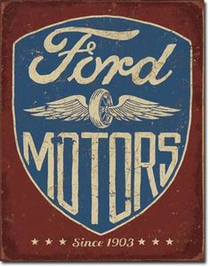 Details about Vintage Ford Motor Company Since 1903 Tin Ad Sign Dealership Garage Auto Shop - - Carros Retro, Carros Vintage, Ford Motor Company, Ford Company, Old Ford Trucks, Diesel Trucks, Ford Diesel, Pickup Trucks, Garage Art
