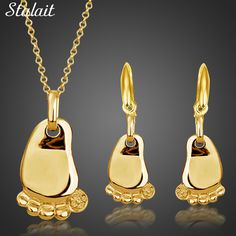 fashion new baby children birthday gifts  white yellow Gold Color foot feet pendant Necklace Earrings jewelry sets 80119