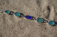 Sea Glass Bracelet Aqua/Cobalt by 1247Studios on Etsy