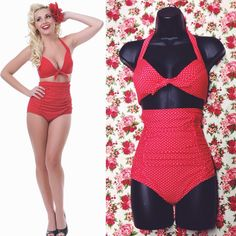 This sexy retro two piece shows off your curves, while still being comfortable for a fun day taking in some rays! #blamebetty #retrobikini #swimsuit