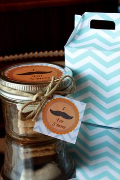 6 Complete Mini S'more Kits and Mason Jar Party Favor- Mustache Party Favor on Etsy, $24.00 #wedding #favor