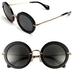 Women's Miu Miu 49Mm Round Retro Sunglasses - Black: http://fave.co/2nWJ9TE