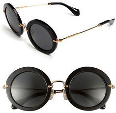 Women's Miu Miu 49Mm Round Retro Sunglasses - Black: http://fave.co/2nWJ9TE
