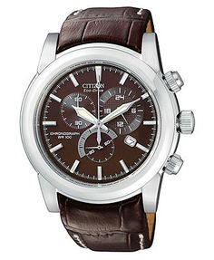 Citizen Watch, Men's Chronograph Eco-Drive Brown Leather Strap 41mm AT0550-11X