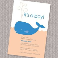 Happy Whale Boy Baby Shower Invitation Printable by paperspice, $16.00