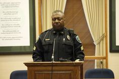 """Sargeant Tim Franklin of the Fayetteville, Arkansas Police Department took part in reading Dr. King's """"Letter From Birmingham Jail."""" Photo by Tom Clark."""