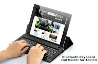 Bluetooth Keyboard and Holder for Tablets (iPad 2, New iPad 3, Samsung Galaxy Tab, Asus Eee Pad, Xoom and More)