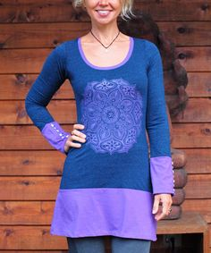 Another great find on #zulily! Blue & Lilac Mandala Om Button-Sleeve Tunic #zulilyfinds