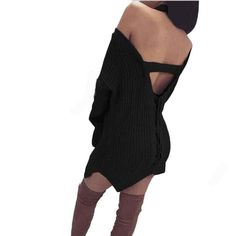 Women Dress Black Offer Shoulder Bodycon Bandage Knit Sweater Knitting Loose Casual Pullover Dress #LSN
