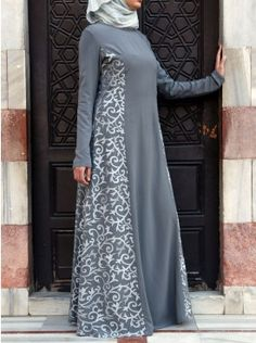 Arabesque Embroidered Gown Neutral Gray color Every little girl dreams of being Stylish Dress Designs, Stylish Dresses, Islamic Fashion, Muslim Fashion, African Fashion Dresses, Fashion Outfits, Hijab Style Dress, Abaya Designs, Hijab Fashion Inspiration