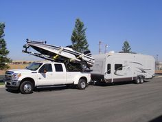When you need to take the camper with you :-) *~ Travel Trailer Tires, Travel Camper, Popup Camper, Truck Camping, Van Camping, Camping Stuff, Camper Parts, Rv Campers, Tiny Trailers