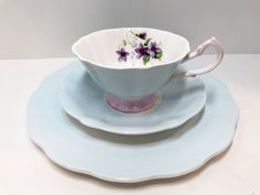 Queen Anne Trio, Plate, Tea Cup and Saucer, Violets in Blue Trio, Violets Teacups Vintage, Teatime, Afternoon Tea, Antique Tea Cups Vintage Antique Tea Cups, Vintage Teacups, Little Gardens, China Tea Sets, China Cups And Saucers, Violets, Queen Anne, Tea Cup Saucer, Afternoon Tea