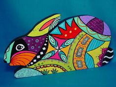Modern Abstract Bunny Rabbit Wall Sign Garden Art Wood OOAK Original Handmade Plaque Grafitti Painting Huichol Mexican Aztec Artwork Star