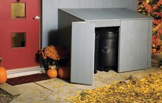 How to Build a Trash Shed Create an outdoor waste and recycling shed with flip-open lids and easy-access bifold doors Garbage Can Shed, Garbage Can Storage, Storage Bins, Storage Ideas, Storage Hacks, Storage Solutions, Bin Shed, Diy Storage Shed Plans, Building A Shed