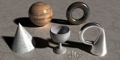 Objects rendered in Bryce 3D using materials which Dave Savage shared on the Bryce 3D discussion forum
