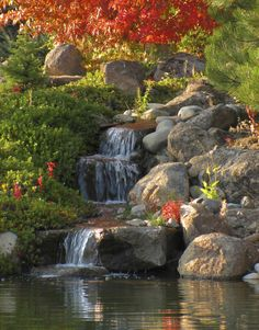 A backyard pond with running water, floating plants and darting fish can make a bland . How to build a pond takes work and planning. Waterfall Landscaping, Garden Waterfall, Pond Landscaping, Beautiful Nature Pictures, Beautiful Landscapes, Beautiful Gardens, Beautiful Beautiful, Backyard Water Feature, Ponds Backyard