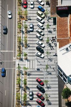 being able to extend the street condition, in order to provide more than just pedestrian characteristics, is also another characteristic that makes a street successful. in this example, Melbourne has created more zones in order to organize; traffic zone, pedestrian sitting, pedestrian walking, car parking, as well as pedestrian walking in front of commercial spots that probably only exist on the first floor of the buildings.