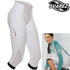 Suarez Women s White 3/4 Cycling Tights - Superior Multi Fabrics, UK Size 12