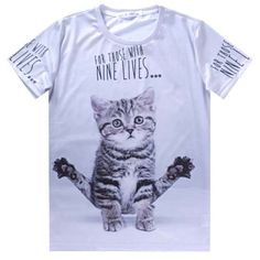 Cute Kitten Yoga Shaped Graphic Print T-Shirt in Grey