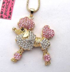 Betsey Johnson Shiny Pink crystal Pretty Poodle Pendant necklace#356L F   Jewelry & Watches, Fashion Jewelry, Necklaces & Pendants   eBay!