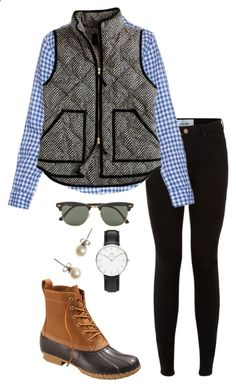 Back to beans by thepinkcatapillar on Polyvore featuring Frank  Eileen, J.Crew, L.L.Bean, Ray-Ban and Daniel Wellington