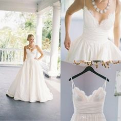 Sweety Lovely Wedding Dress Spaghetti Strap Lace Appliques Ruffles V Neck Floor Length Zipper Back Bridal Wedding Gowns Z956 Bridal Gowns Wedding Dresses Off The Shoulder A Line Wedding Dresses From Rosemarybridaldress, $170.86  Dhgate.Com