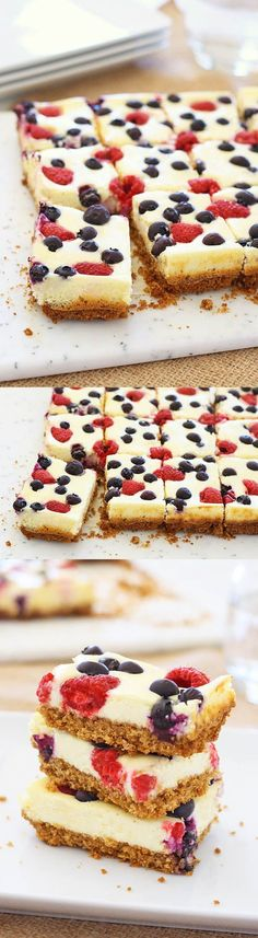 Berry Cheesecake Bars – a sweet and delicious dessert topped with fresh berries. Perfect for the summertime and comes together easily   http://rasamalaysia.com