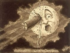 Georges Melies A Trip to the Moon Le Voyage dans la Lune painting Jules Verne, Constellations, Science Fiction, Moon Sketches, Hugo Cabret, Steampunk, Silent Film, Illustrations Posters, Storytelling