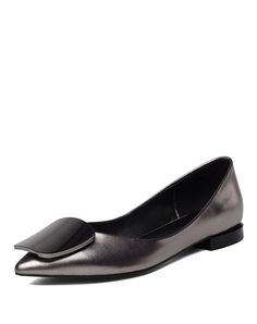 Dark Grey Metallic Cow Leather Pointed Toe Square-buckled Low Heels