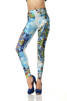 SEXY LADY GALAXY LEGGINGS PRINTED COSMIC SPACE PANTS TIE DYE TIGHTS NEW VINTAGE FASHION COLORFUL UNDERWATER WORLD DIGITAL PRINTING SEXY LEGGINGS FOR WOMEN