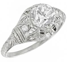 Art Deco EGL Certified 1.13ct Old European Cut Diamond Platinum Engagement Ring - See more at: http://www.newyorkestatejewelry.com/engagement-rings/edwardian-egl-certified-1.29ct-diamond-engagement-ring/23437/3/item#sthash.TQne27z2.dpuf