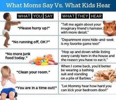 {Fun to share} What Moms Say VS What Kids Hear! True indeed LoL. How many times have you told/asked your kids to do something, only to have them do the complete opposite? Kids are just amazing little creatures, aren't they?