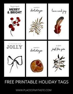 HOLIDAY GIFT TAG PRINTABLE - PLACE OF MY TASTE Christmas Gift Tags Printable, Holiday Gift Tags, Free Christmas Printables, Free Printable Gift Tags, Printable Paper, Just Because Gifts, Just For You, Christmas Ideas, Diy Ideas
