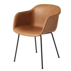 Fiber tuoli, putkijalat, nahkaverhoiltu konjakinruskea