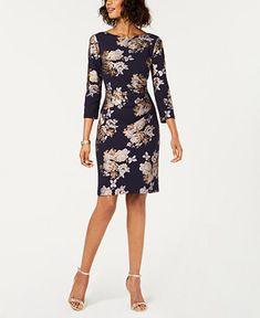 770da336 Jessica Howard Metallic Floral Sheath Dress - Dresses - Women - Macy's  Floral Sheath Dress,