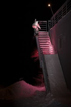 Austen can defy gravity. He's going up the rail. PHOTO: Tim Peare | Caught Up: Austen Sweetin | TransWorld SNOWboarding