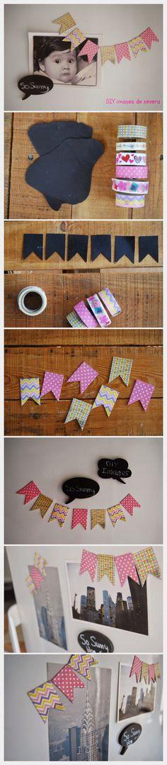 DIY fridgemagnets garland.  Haz tus propios imanes de nevera con washi tape en forma de guirnalda