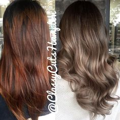 """""""Happy Saturday guys here we have a  hair rescue for our lovely new client Tamika. From patchy red brown to a beautiful smokey ash beige blonde Balayage…"""""""