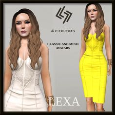 Lexa Dress For Classic And Mesh SL Avatars. Second Life Freebies. HUD gives you four different color options: pink, white, yellow and sky blue.