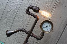 "Steampunk Lamps: ""Bell"" Antique brass gauge, Edison bulb, vintage clarinet horn."