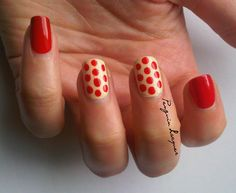 red& beige #nail art #dots
