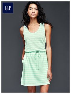 Linen-cotton stripe tie dress