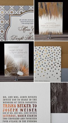 I'm just about ready to sign off for a little holiday break, but before I go, wow, do I ever have some crave-worthy paper to share with you. Gotham by Erin Jang Bella Figura's 2012 wedding invitation collection just launched,. Foil Stamped Wedding Invitations, Gold Invitations, Invitation Paper, Wedding Stationary, Wedding Invitation Cards, Invitation Design, Invites, Foil Stamping, Layout Inspiration