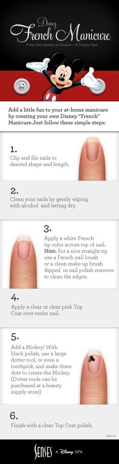 """Add a little fun to your at-home manicure by creating your own Disney """"French"""" Manicure! #DisneyWorld #wedding #DIY #manicure"""
