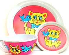60's Tin Toy Tea Setting Yellow Cat & Blue by OldeTymeNotions