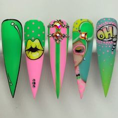 Pop Art Nails, Bling Acrylic Nails, Nail Pops, Summer Acrylic Nails, Dope Nail Designs, Nail Art Designs Videos, Acrylic Nail Designs, Crazy Nails, Dope Nails