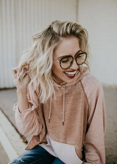 Blush Hoodie and Glasses | ROOLEE